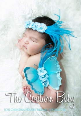 Teal Sequin Flowers and Ostrich Feather Butterfly Fairy Wing & Headband Photo Prop 2 Piece Set