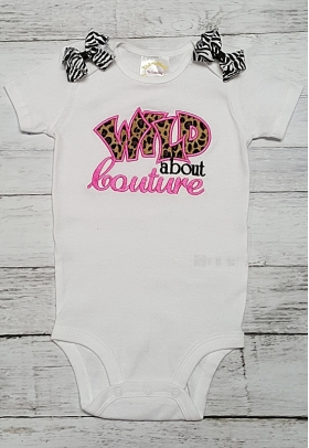 """Wild About Couture"" Embroidered Hot Pink & Leopard Cheetah Print Onesie"