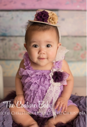 Lavender Lace Petti Romper & Top Hat Photo Prop Set