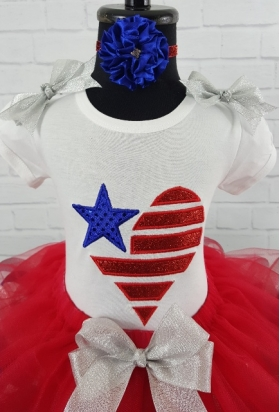 Patriotic July 4th Red White Blue Glitter Ribbon Tutu Personalized Shirt Top and Headband 3 Piece Set