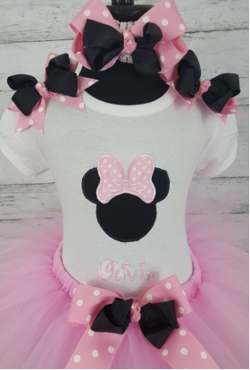 Minnie Pink & White Dot Personalized 3 Pc Tutu Set