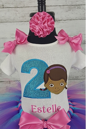 Doc McStuffins Hot PInk Teal Personalized Birthday Shirt, Headband & Tutu 3 Piece Set