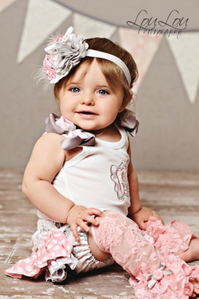 Silver Pink Damask Ruffle Personalized Bloomer Set