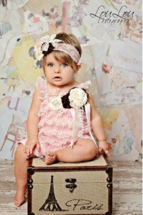 Strawberry Pink & Chocolate Brown Floral Embellished Pink Petti Romper