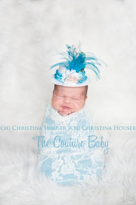 Turquoise Feather & Flower White Top Hat Photo Prop