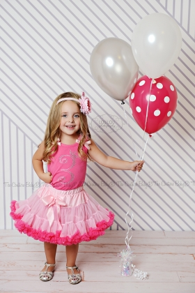 Hot Pink & Light Pink Crystal Crown & Age  Birthday Petti Skirt 2 Piece Set Ages 1 2 3 4 5