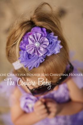 Shades Of Lavender Tiered Tulle Rosette Dress