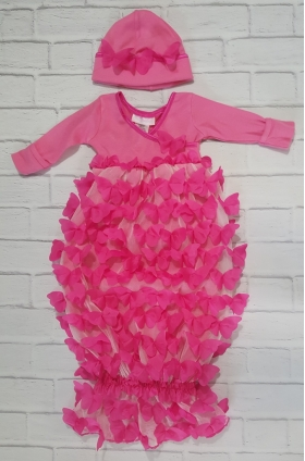 Hot Pink Raised Butterfly Layette Gown & Hat Set