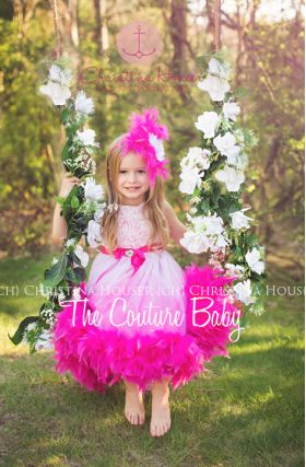 Fuschia Ombre Rosette Feather Dress