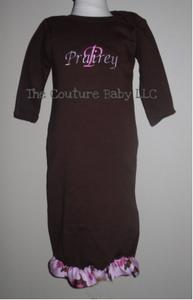 Camoflauge Pink & Brown Embroidered Brown Gown