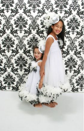 Cruella Couture White & Black Feather Tulle Party Dress
