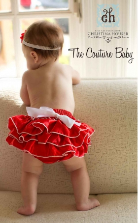 Red & White Satin Ruffle Diaper Cover Bloomers Christmas or Valentines