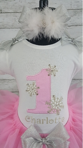 "1st Birthday Winter Wonderland ""One""derland Pink and Silver Personalized Crystal Silver Ribbon Tutu 3 Piece Set"