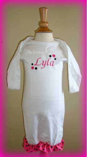 Polka Dot Personalized Layette Gown
