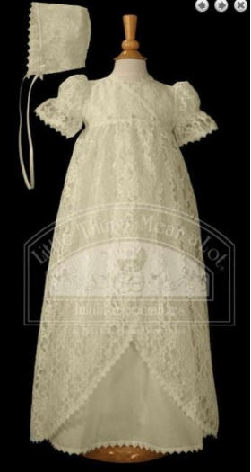 Ecru Lace Vintage Christening Gown & Hat Set (6m)