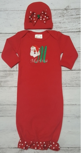 Layette Gown with Santa & letter A Applique, Santa Design, and Ribbon on bottom