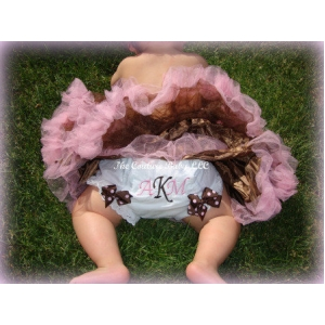 Pink & Brown Monogram Diaper Cover