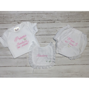 Princess  Onesie Bib & Bloomer 3 Piece Gift Set