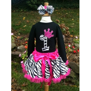 Zebra Princess Birthday Pettiskirt Set