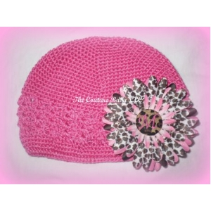 Hot Pink Leopard Initial Daisy Hat