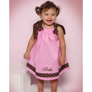 Pink & Brown Polka Dot Pink Pillowcase Dress