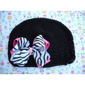 Black Child Beanie & Zebra Bow