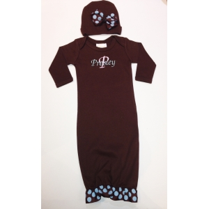 Brown & Teal Layette Personalized Gown Set