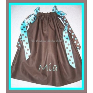 Brown and Teal Personalized  Pillowcase Dress