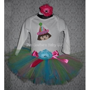 Dora Personalized Pink & Turquoise 3 Piece Tutu Set