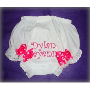 Hot Pink Eyelet Personalized Diaper Cover