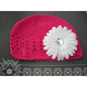 Fushia Hot Pink Crochet Beanie Hat & White Daisy Flower