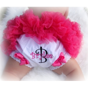 Hot Pink & Black Personalized Diaper Cover Bloomers