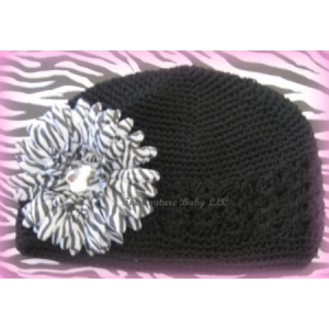 Black Crochet Beanie Hat & Zebra Flower