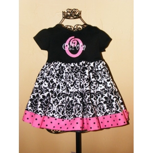Black White & Hot Pink  Damask Embroidered Personalized Name & Initial  Dress