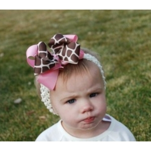 Giraffe Print & Pink Double Layer Bow & Headband