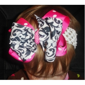 Damask Bow & Hot Pink & White Polka Dot Double Bow & Headband