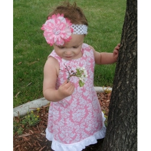 Pink & White Damask Ruffle Dress & Headband