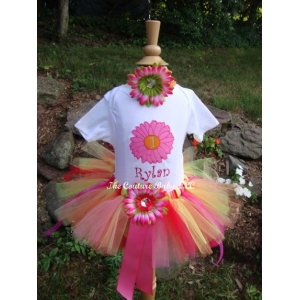 "Hot Pink, Orange & Green ""Flower Power"" Daisy  Personalized 3 Piece Tutu Set"