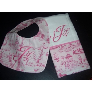 Pink Toile Bib & Burp Cloth Set