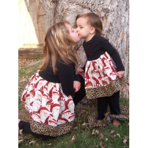Leopard Santa Cotton Dress & Rhumba Pants