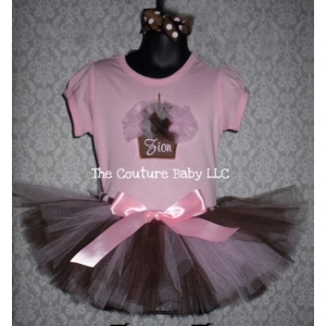 Brown & Pink Cupcake Fluff Birthday Tutu Set