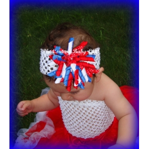 Red White & Blue Korker Bow & Headband