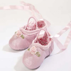 Pink Sequins Flower Leather Ballet Slippers