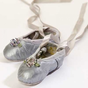 Silver Sequins Rose Leather Ballet Slippers