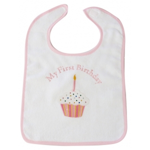 My First Birthday Pink Crystal Bib