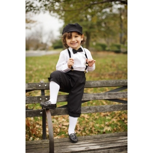 Boy's Black Dressy 4 Piece Knicker Set with Cap