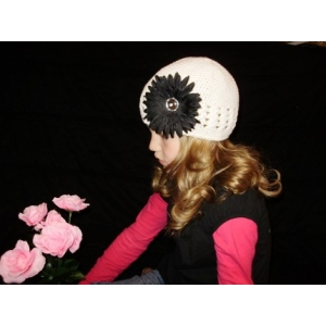 White & Black Crochet Beanie Hat