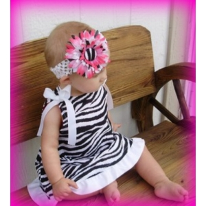 Black & White Zebra Ruffle Dress & Headband 2 Piece Set