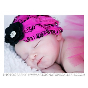 Hot Pink & Black Feather & Flower Headband