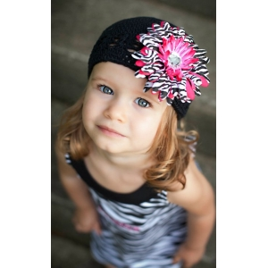 Black Crochet Beanie Hat & Hot Pink Zebra Flower